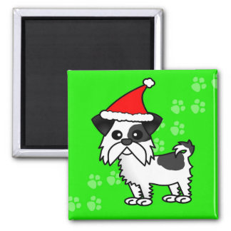 Cute Shih Tzu cartoon Santa Hat - Black and White Magnet