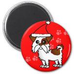 Cute Shih Tzu cartoon Santa Hat - Brown and White Fridge Magnet