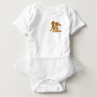 Cute Shiny Golden Little Baby Angel Baby Bodysuit