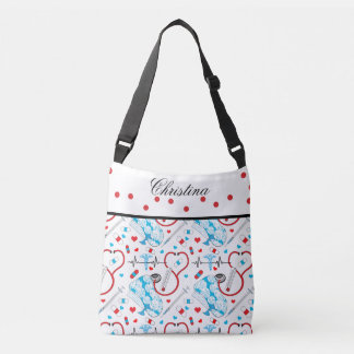 Cute Shots Nurse | Doctor EKG Pattern Name Crossbody Bag