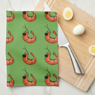Cute shrimps kawaii seafood kitchen towel
