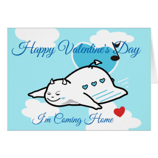 Cute Shy Devil Happy Valentine's Day Flight Card
