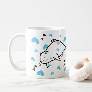 Cute Shy Devil in Happy Hearts Sky Coffee Mug
