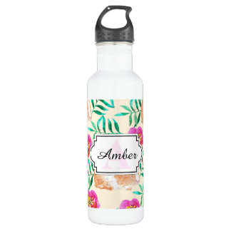 Cute shy watercolor bunny on flowers pattern 710 ml water bottle