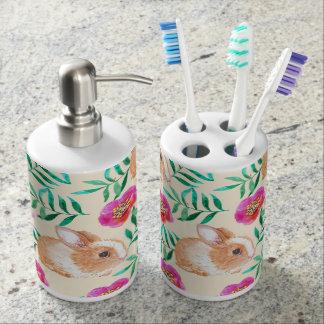 Cute shy watercolor bunny on flowers pattern bathroom set