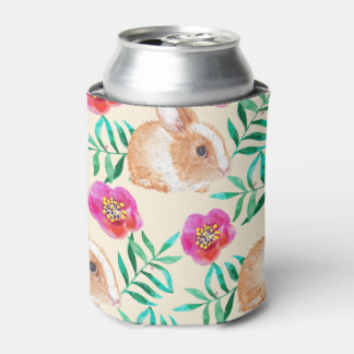 Cute shy watercolor bunny on flowers pattern can cooler