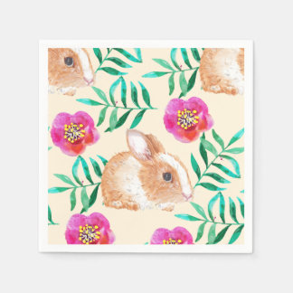 Cute shy watercolor bunny on flowers pattern disposable napkins