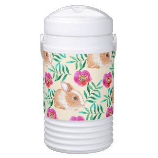 Cute shy watercolor bunny on flowers pattern drinks cooler