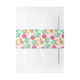 Cute shy watercolor bunny on flowers pattern invitation belly band