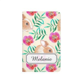 Cute shy watercolor bunny on flowers pattern journal