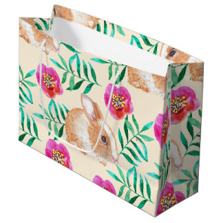 Cute shy watercolor bunny on flowers pattern large gift bag