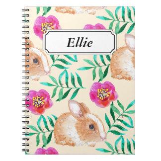 Cute shy watercolor bunny on flowers pattern notebook