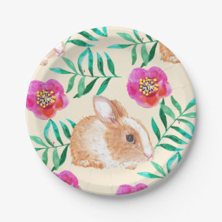 Cute shy watercolor bunny on flowers pattern paper plate