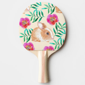 Cute shy watercolor bunny on flowers pattern ping pong paddle
