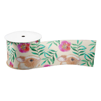 Cute shy watercolor bunny on flowers pattern satin ribbon