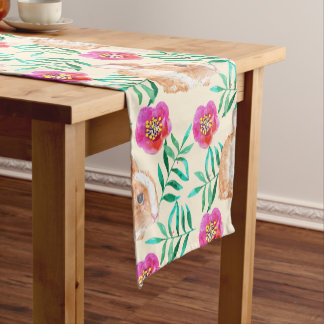 Cute shy watercolor bunny on flowers pattern short table runner