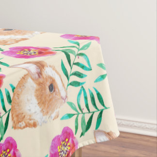 Cute shy watercolor bunny on flowers pattern tablecloth