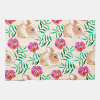 Cute shy watercolor bunny on flowers pattern tea towel