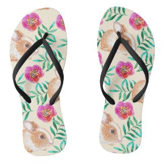 Cute shy watercolor bunny on flowers pattern thongs