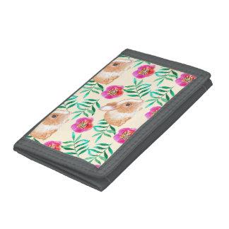 Cute shy watercolor bunny on flowers pattern tri-fold wallets