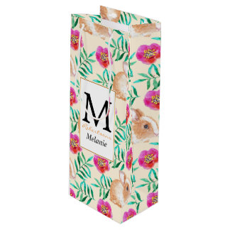 Cute shy watercolor bunny on flowers pattern wine gift bag