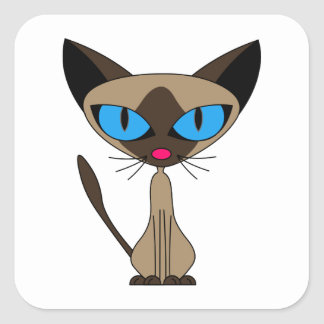 Cute Siamese Cat Square Square Sticker