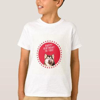 Cute Siberian Husky Dog Happy Birthday T-shirt