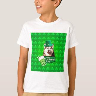 Cute Siberian Husky Dog Hat St. Patrick's Day T-shirt