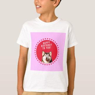 Cute Siberian Husky Dog Wishing Happy Birthday Tees