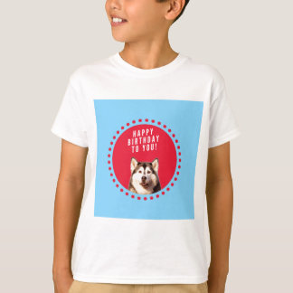 Cute Siberian Husky Happy Birthday blue red dots Tees