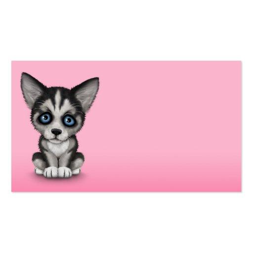 Cute Siberian Husky Puppy Dog on Pink Business Card