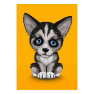 Cute Siberian Husky Puppy Dog on Yellow Business Cards