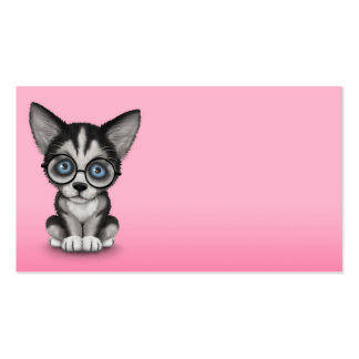 Cute Siberian Husky Puppy Wearing Glasses Pink Pack Of Standard Business Cards