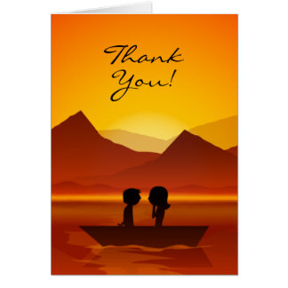 Cute Silhouette Couple Boating Mountain Thank You Card