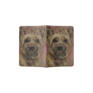 Cute Silky Terrier Dog Drawing with Bow Passport Holder