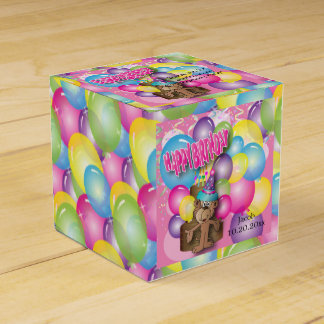 Cute Silly Birthday Party Cartoon Monkey - Pink Favour Box