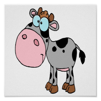 cute silly cartoon baby cow calf gray poster