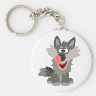 Cute Silly Cartoon Wolf Key Ring