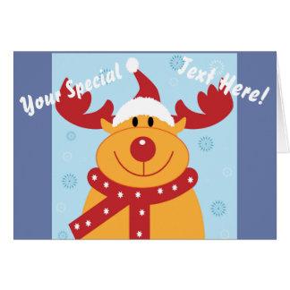 Cute Silly Christmas Reindeer! (Customize It!) Card