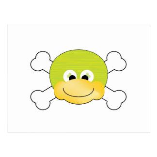 cute silly ducky face crossbones design postcard