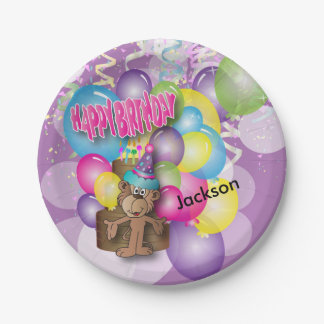 Cute Silly Monkey Purple Birthday Party Paper Plate