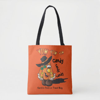 Cute Silly Orange Halloween Pumpkin Tote Bag