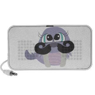 cute silly walrus cartoon with mustache travel speaker