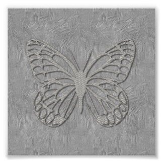 Cute Silver Grey Butterfly Silk Textured Poster