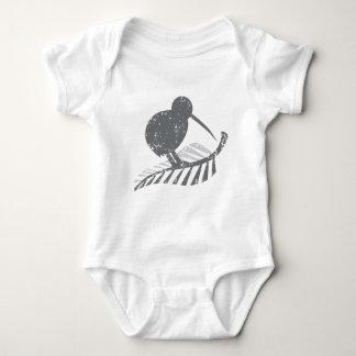 cute silver kiwi bird and silver fern distressed baby bodysuit