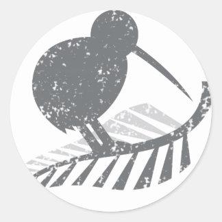 cute silver kiwi bird and silver fern distressed round sticker
