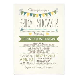 Cute, Simple, Green, Yellow, Teal Bridal Shower Card