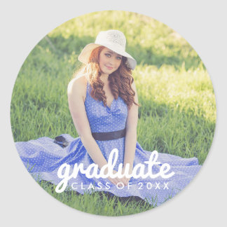 Cute Simple Photo Graduation Classic Round Sticker