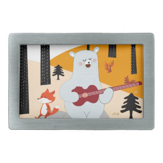 Cute sing a summer song fox wolf and teddy bear belt buckle