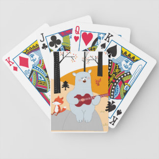 Cute sing a summer song fox wolf and teddy bear bicycle playing cards